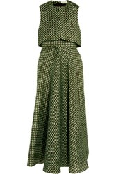 Delpozo Tiered Printed Silk Crepe Midi Dress Bright Green