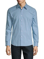 Hyden Yoo Checkered Cotton Slim Fit Button Down Shirt Turquoise