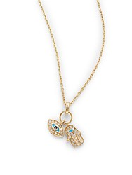 Casa Reale Diamond And 18K Yellow Gold Hamsa And Evil Eye Pendant Necklace