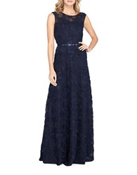 Tahari By Arthur S. Levine Raised Floral Lace Gown