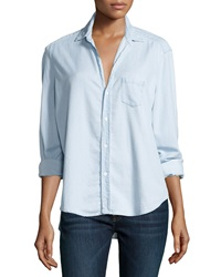 Frank And Eileen Eileen Button Front Chambray Shirt Blue