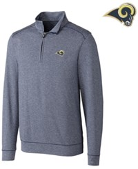 Cutter And Buck Men's Los Angeles Rams Shoreline Quarter Zip Pullover Navy