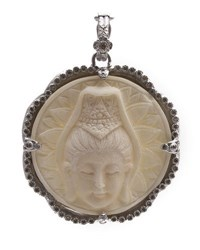 Armenta New World Scalloped Round Crowned Buddha Bone Enhancer With Champagne Diamonds