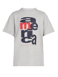 Perry Ellis America Logo Print Cotton T Shirt Grey