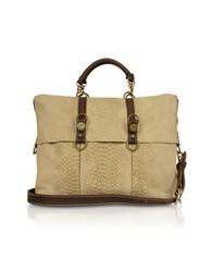 Ghibli Beige Croco Stamped Suede Large Tote Bag