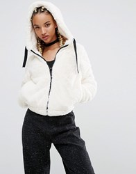 Pull And Bear Pullandbear Faux Fur Hooded Bomber Jacket Cream