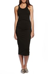 Women's Michael Stars Ruched Side Racerback Midi Dress Black