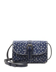 Patricia Nash Denim Fields Torri Leather Crossbody Bag