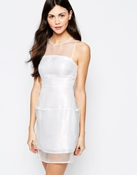 Aryn K Dress With Sheer Panels White