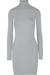 Enza Costa Ribbed Stretch Jersey Turtleneck Mini Dress Stone