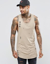 Asos Longline Vest With All Over Aztec Print And Extreme Racer Back Beige