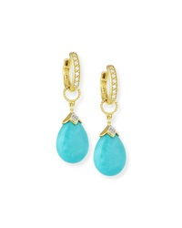 Jude Frances 18K Gold Turquoise And Diamond Earring Charms Judefrances Jewelry