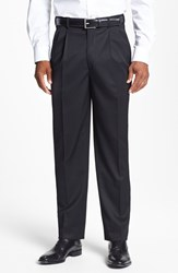 Men's Big And Tall Jb Britches Double Pleated Super 100S Worsted Wool Trousers Black