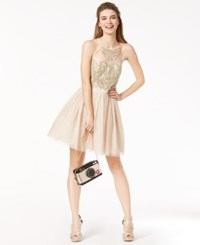B. Darlin B Juniors' Embroidered And Embellished Dress Nude