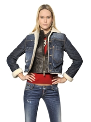 Dsquared Stretch Denim Jacket With Leather Vest Blue