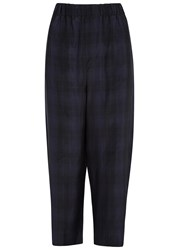 Vince Blue Plaid Cropped Trousers Navy
