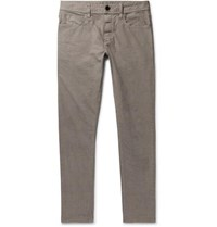 James Perse Grey Slim Fit Pigment Dyed Stretch Cotton Trousers Gray