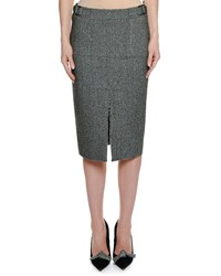 Tom Ford Herringbone Tweed Straight Knee Length Pencil Skirt Black White