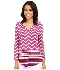 Lucky Brand Chevron Print Top Burgundy Multi Women's Blouse