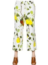 Sportmax Pear Printed Cropped Cotton Drill Pants