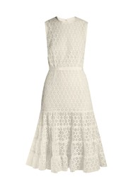 Giambattista Valli Broderie Anglaise Cotton Blend Dress Ivory