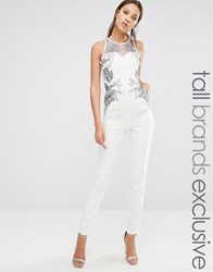 Little Mistress Tall Jumpsuit With Lace Print And Mesh Detail Cream
