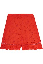 Zimmermann Marisol Broderie Anglaise Cotton Shorts Red