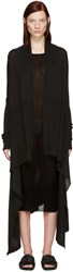Rick Owens Black Long Wrap Cardigan