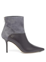 Jimmy Choo Beyla 85 Leather And Suede Ankle Boots Grey