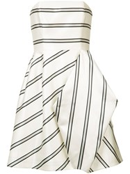 Halston Heritage Striped Party Dress Women Polyester 4 White
