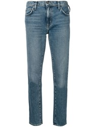Current Elliott Mid Rise Cropped Jeans Blue