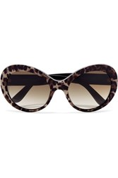 Dolce And Gabbana Cat Eye Printed Acetate Sunglasses Brown