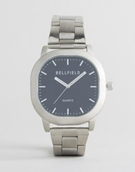 Bellfield Silver Watch With Black Dial Silver