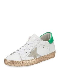 Golden Goose Superstar Glittered Platform Sneaker White Gold White Gold