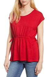Bobeau Cinched Waist French Terry Top Racing Red