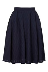 Pleated Lace Midi Skirt By Wal G Navy Blue