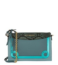 Burberry Shoes And Accessories Snake Trim Cross Body Bag Female Turquoise
