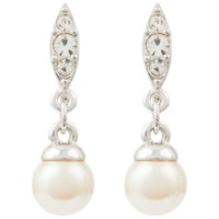 Susan Caplan Vintage 1980S Nina Ricci Silver Plated Faux Pearl Swarovski Crystal Drop Earrings Silver White