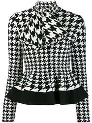 Alexander Mcqueen Houndstooth Patterned Knitted Top White