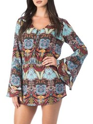 Kenneth Cole Reaction Printed Bell Sleeve Cover Up Blue