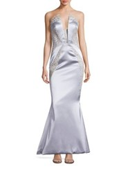 Rubin Singer Strapless Lace Inset Mermaid Gown