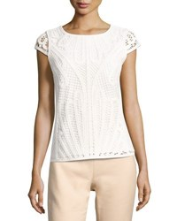 Tahari By Arthur S. Levine Lace Knit Short Sleeve Blouse Ivory