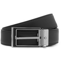 Montblanc 3Cm Black Leather Belt Black