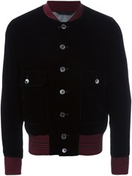 Alexander Mcqueen Striped Trim Velvet Bomber Jacket Black