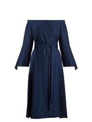 Tibi Off The Shoulder Tie Cuff Denim Dress