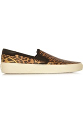 Saint Laurent Leopard Print Glossed Leather Slip On Sneakers Animal Print