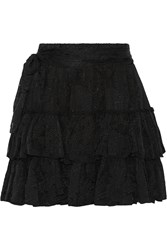 L'agence Victoria Tiered Silk Jacquard Mini Skirt Black