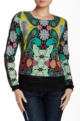 Weston Wear Juniper Printed Lace Trim Blouse Multi