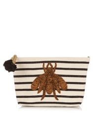 Sanayi 313 Rango Bee Embroidered Canvas Clutch Black Stripe