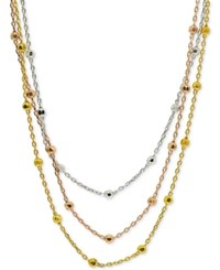 Giani Bernini Tricolor Beaded 18 Multi Layer Necklace In Sterling Silver 18K Gold Plate And 18K Rose Gold Plate Tritone